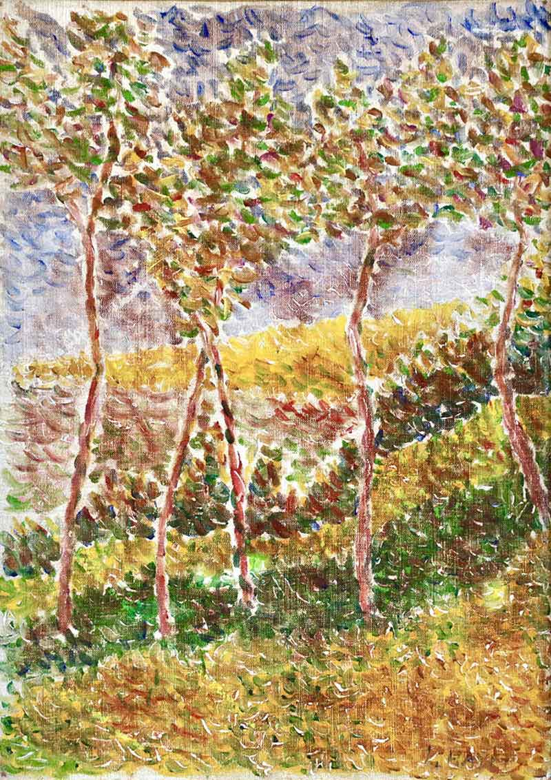Neo-impressionistic view of five trees on a slope.